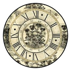 Art Print: Antique Floral Clock Wall Art by Vision Studio : 16x16in