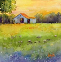 """2-Day Workshop-""""Landscapes with Simple Buildings in Watercolor"""" For Absolute Beginners to Intermediate levels. July 19-20, 2013.  Come join me in Berea, KY--the heart and soul of arts and crafts with lots of shops and galleries in this historic town nestled in the foothills of Kentucky!"""
