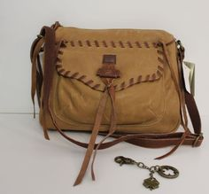 Lucky Brand Cognac/Brandy Chimayo Leather Crossbody Handbag Hobo $158 #LuckyBrand #MessengerCrossBody