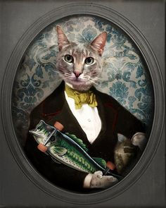 Cat Art Animal Photography Funny Cat with a Fish by TheLonelyPixel