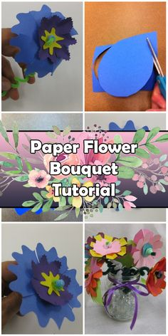 Paper Flower Bouquet Tutorial - Craft Fiesta Paper Flowers Craft, Flower Crafts, Mothers Day Crafts, Real Flowers, Craft Tutorials, Bouquet, Bouquet Of Flowers, Bouquets, Wreaths
