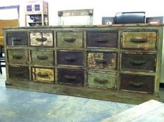 15 drawer chest - like a GIANT apothecary cabinet! long x deep x high available at The Green Door Company Oxford, MS Apothecary Cabinet, Chest Of Drawers, Ms, Oxford, Bedroom Decor, Deep, Doors, Furniture, Home Decor