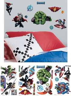 Avengers, assemble! Bring Marvel's action-packed Avengers into any room with these peel & stick wall decals. These repositionable designs are easy to apply, and are certain to delight Marvel fans of any age. You can even move them around and stick them back up when you're ready for a change! A great finishing touch for any Avengers-themed bedroom, or for comic book collectors.