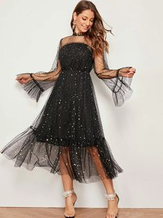To find out about the Mock-Neck Flounce Sleeve Frill Trim Star Mesh Dress at SHEIN, part of our latest Dresses ready to shop online today! Tulle Dress, Satin Dresses, Dress P, Lace Mesh Dress, Casual Party Dresses, Cute Dresses, Dresses With Sleeves, Sleeve Dresses, Black Party Dresses