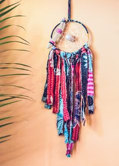 Vintage kantha dream catcher made with sea shells, driftwood, and colorful vintage textiles and fringe. Unique bohemian home decor with beach elements Mobiles, Diy And Crafts, Arts And Crafts, Adult Crafts, Dream Catcher Mobile, Vintage Textiles, Vintage Colors, Fabric Scraps, Wind Chimes
