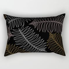 New In Store Jungle LEaf Black Rectangle Pillow 20% Off Plus Free Shipping Worldwide Today!