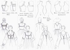 "Basic kirtle styles of the 16th century: Italian ""fruitseller"", German, Flemish and Dutch"