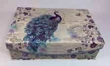 Punch Studio Peacock Magnetic Flip Top Nesting Decorative Storage Box New Bella