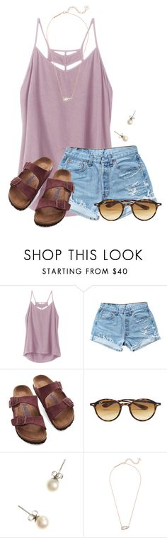 """""""Netflix and Chill on a Saturday night..."""" by flroasburn ❤ liked on Polyvore featuring RVCA, Levi's, Birkenstock, Ray-Ban, J.Crew and Kendra Scott"""
