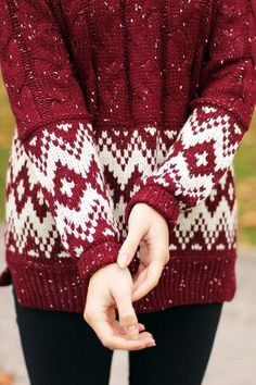 The Vogue Fashion: Cozy Full Sleeves Maroon Patterened Sweater