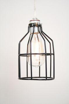 Industrial Cage Hanging Lamp- Industrial Hanging Lamp, Antique Edison Bulb, Black Cage Lamp, Rustic Lighting. $55.00, via WorleysLighting on Etsy.
