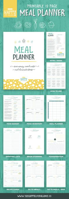 Meal planning doesn't have to be stressful. With this 12-page meal planner, you can start saving money, avoid waste and eliminate that stress! Meal planner templates included in this kit: Front Page Intro / Index How To Meal Plan Food Budget Food Inventory Weekly Meal Planner Shopping Lists / Grocery Lists Brain Storm Meal Ideas Foodspiration - Recipe / Idea Log Recipe Cards Go To Meals for Adults and Kids! Have a closer look in our Etsy shop here >>