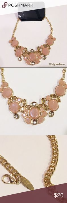 NWT. Pink and Gold gem statement necklace NWT. Pink and gold gem statement necklace. Adjustable back chain. Brand: New York & Company. Size: One size. Sorry, no trades. Like the item but not the price, feel free to make me a reasonable offer using the offer button. New York & Company Jewelry Necklaces