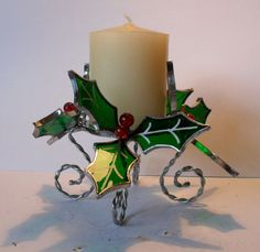 Stained Glass Christmas Holly Candle