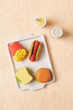 50 School Supplies to Stock Your Student's Homework Station: Urban Outfitters Fast Food Puzzle Eraser Set. This adorable eraser set waits deliciously on its own tray until your student needs to utilize it to erase away a math mistake. Homework Station, Back To School Shopping, School Supplies, Cleaning Wipes, Tray, Puzzle, Desserts, Urban Outfitters, Food