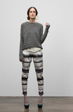 Gretchen Jones.  printed pants and comfy sweater.