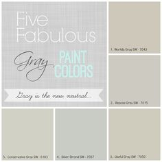 Five Favorite Gray Paint Colors! Worldly Gray is one of the warmest grays with a khaki undertone.   Repose gray is a cooler gray and really reads gray in any light.  Useful Gray is on the warm side with subtle green undertones. Silver Strand is a silvery gray blue that reads gray in darker light, subtle light blue in brighter lights. And Finally Conservative Gray, on the green side and will read subtle green in some lights and gray in others.