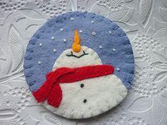 Felt Snowman Ornament Penny Rug Applique Feather Tree. $12.75, via Etsy.