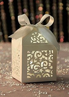 Check out the deal on Laser Cut Favor Boxes - Set of 12 With Satin Ribbon at Battery Operated Candles