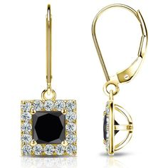 Certified 14k Yellow Gold Halo Princess-Cut Lever back Black Diamond Stud Earrings 3.00 ct. tw.