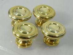 Vintage Drawer PullsKnobs Solid Brass Round Set by 3sisterssmalls, $21.49
