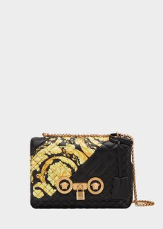 ef20149e5a6 Medium Gold Hibiscus Print Quilted Icon Bag for Women   Online Store EU.  Versace