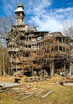 World's tallest treehouse.  11 years to build, 97 feet high, supported by 6 trees! Crossville, TN