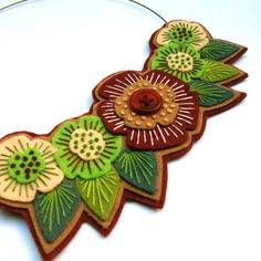 FELT BIB NECKLACE with freeform embroidery on co-ordinating wire necklace