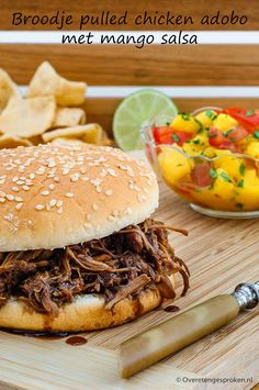 Pulled Chicken, Pulled Pork, Chicken Adobo, Mango Salsa, Slow Cooker, Buffet, Sandwiches, Lunch, Meat