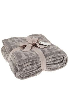 Barefoot Dreams In The Wild Warm Gray/Linen CozyChic Leopard Throw