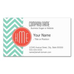 2291 best monogram business card templates images on pinterest elegant aqua green chevron and orange monogram business card colourmoves