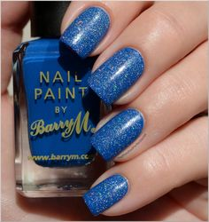 Catrice Have An Ice Day (holographic sparkles!) over Barry M - Cobalt Blue
