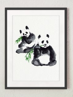 Two Panda Drawing, Watercolor Bear, Black and White Painting, Green Bamboo, Animal Gift Idea by ColorWatercolor on Etsy