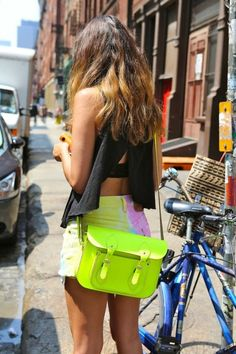 I have every single, exact piece of this girl's outfit, including the bag, but I've never worn them together. Well, I guess I know what I'm wearing to my pool party today! This would be perfect for wearing a bikini underneath. Neon Shorts, Bright Shorts, Oxford Bags, Neon Bag, My Pool, Mellow Yellow, Neon Yellow, Cambridge Satchel, Trends
