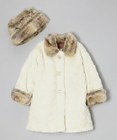Take a look at this White Fur Sweet Peacoat & Hat - Infant & Toddler by Corky & Company on #zulily today!