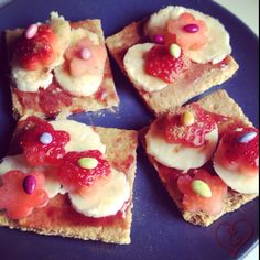 Sweet Treat... I used Trader Joe's Graham Crackers, little jam, bananas, strawberries, cinnamon and TJ's chocolate sunflower seeds.