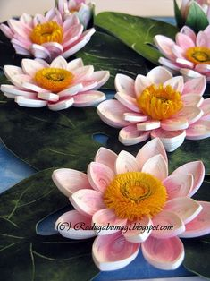 Quilled lotus flowers