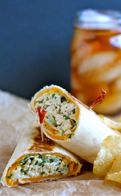 Crispy Chicken Salad Wraps | I love the idea of browning the wrap!