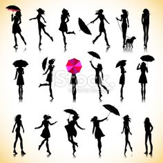 Set Female Silhouettes Autumn Stock-Vektorgrafik (Lizenzfrei) 214421305 : Set of female silhouettes in autumn Crayon Canvas Art, Diy Canvas Art, Silhouette Art, Woman Silhouette, Stock Foto, Free Vector Art, Photography Poses, Female Silhouettes, Art Drawings
