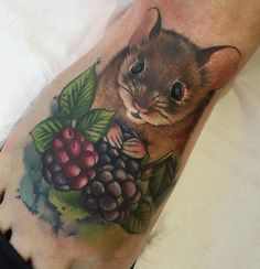 Cute mouse with berries by Lianne Moule.  http://tattooideas247.com/mouse-foot/