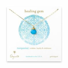 healing gem briolette turquoise necklace, gold dipped - Dogeared