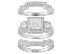 Bella Luce(R) 3.75ctw Rhodium Plated Sterling Silver Ring With 2 Bands