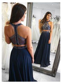 A Line Dress Formal, Two Piece Evening Dresses, Chiffon Evening Dresses, Formal Dresses, Fall Dresses, Long Dresses, Navy Blue Prom Dresses, Strapless Prom Dresses, Cute Prom Dresses