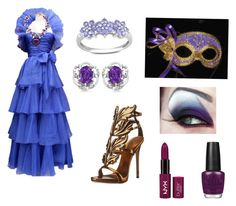 """Evie Queen masquerade"" by onyx-silverwolf ❤ liked on Polyvore featuring Jean-Louis Scherrer, Giuseppe Zanotti, Miadora, Allurez and OPI"