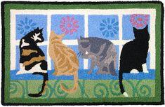 Kitties In Window Cats Accent Rug Machine Washable Doormat Indoor Outdoor Mat Outdoor Cats, Indoor Outdoor Rugs, Jellybean Rugs, Cat Rug, Unique Cats, Cat Lover, Accent Rugs, Jelly Beans