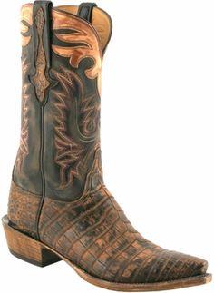 Mens Lucchese Classics Antique Tan Safari Crocodile Belly Custom Hand-Made Cowboy Boots L1424