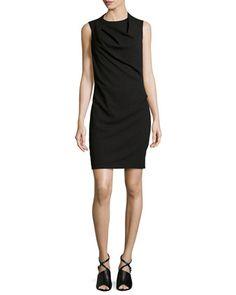 Drape-Neck Crepe Dress, Black by Halston Heritage at Neiman Marcus.