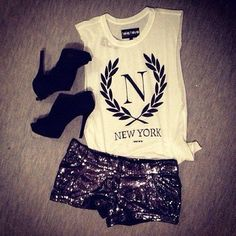 Sparkly shorts + graphic tank