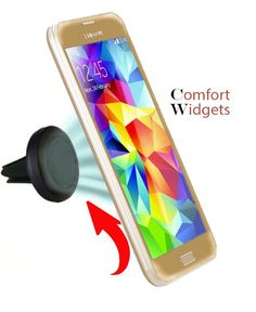Car Mount Holder for iPhone 6 (4.7) / Plus (5.5) / 5s / 5c /, Samsung Galaxy S5 / S4 / S3 / Note 4 / 3, Google Nexus 5 / 4, LG G3, HTC, Sony, Motorola, etc - Universal Portable Adjustable with 360 Degree Rotation for Portrait/Landscape Views - Does Not Obstruct Your Windshield - Strong Grip/Magnet - The Newest Magnetic Holder and The Safest Driving Experience! By Comfort Widgets(TM)(Black)