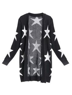 Star Print Sweater Cardigan